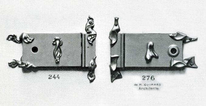 Eriksson (?) pour le n° 244 et Hector Guimard pour le n° 276, modèles de serrures édités par la Maison Fontaine. Montage à partir de la planche 585 du catalogue Fontaine, août 1900. Coll. part.