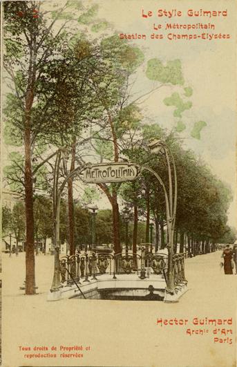 La station Marbeuf sur la ligne 1 lors de sa création, sans le porte-plan. Carte postale ancienne.