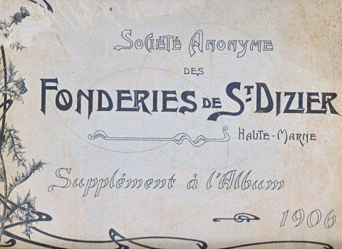 Couverture du catalogue Nouvelles Créations de la fonderie de Saint-Dizier, édition augmentée, 1906. Coll. part.