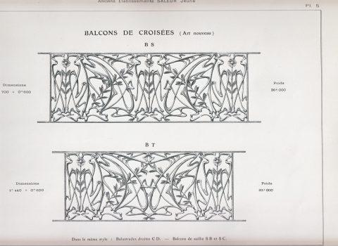 Planche 5 du catalogue Nouvelles Créations de la fonderie de Saint-Dizier, édition augmentée, 1906. Coll. part.