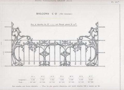 Planche 10E du catalogue Nouvelles Créations de la fonderie de Saint-Dizier, édition augmentée, 1906. Coll. part.