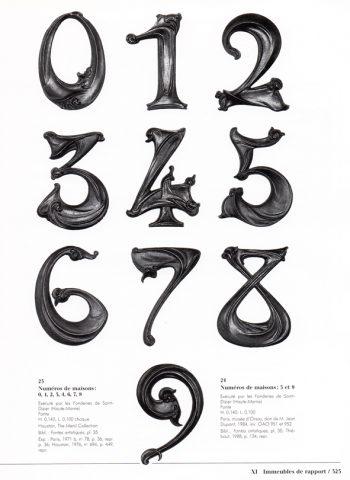 Chiffres 0, 1, 2, 3, 4, 6, 7, 8 : contre-modèles, collection de Ménil. Chiffres 5 et 9 : tirages anciens, Musée d'Orsay (OAO 951 et 952). Catalogue de l'exposition Guimard au Musée d'Orsay, p. 323. Photo RMN.