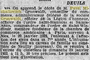 Annonce du décès de Paul Grunwaldt dans le journal Le Matin du 27 janvier 1922.