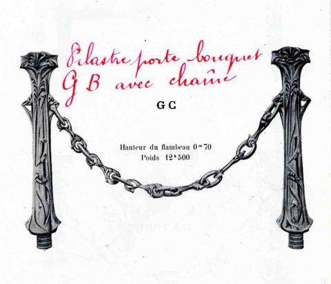 Catalogue de la Fonderie de Saint-Dizier, 1921, fascicule 5. Pilastres porte-bouquets présents sur la sépulture Grunwaldt. Coll. Part.