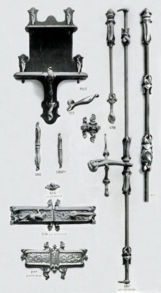 Eriksson, articles édités par la Maison Fontaine. Montage à partir de planches du catalogue Fontaine, août 1900. Coll. part.