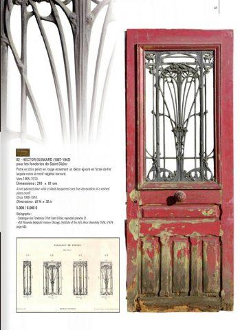 Page du catalogue de la vente Aguttes du 20 mars 2015, lot 82. À noter que la signature encadrée au-dessus du numéro de lot est factice. Le catalogue la reproduit aussi pour un pare-feu attribué à Brindeau de Jarny.