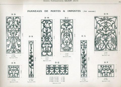 Planche 28 du catalogue Nouvelles Créations de la fonderie de Saint-Dizier, édition augmentée, 1906. Coll. part.