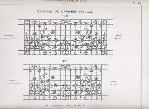 Planche 10 du catalogue Nouvelles Créations de la fonderie de Saint-Dizier, édition augmentée, 1906. Coll. part.