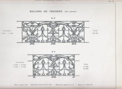 Planche 3 du catalogue Nouvelles Créations de la fonderie de Saint-Dizier, édition augmentée, 1906. Coll. part.