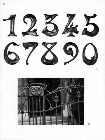 Contre-modèles des chiffres Guimard. Catalogue de l'exposition des contre-modèles des fontes Guimard à la Galerie du Luxembourg en avril-mai 1971, p. 36. Photos Laurent Sully-Jaulmes.