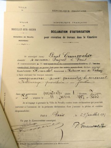 Autorisation de travaux du 29 juillet 1917 (dossier de la concession Grunwaldt à la conservation du cimetière nouveau de Neuilly-sur-Seine).