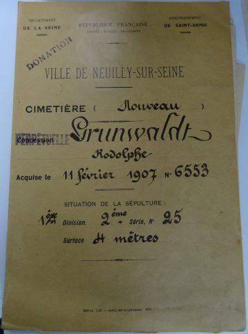 Couverture du dossier de la concession Grunwaldt à la conservation du cimetière nouveau de Neuilly-sur-Seine. 1907.